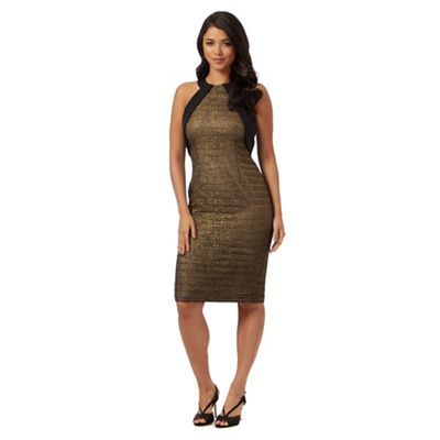 Ariella London Gold 'Leo' midi dress