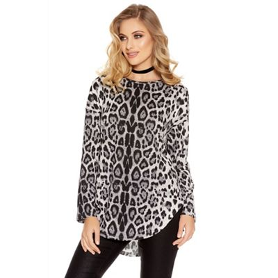 f01431a53e21 Quiz Grey Light Knit Leopard Print Zip Back Top