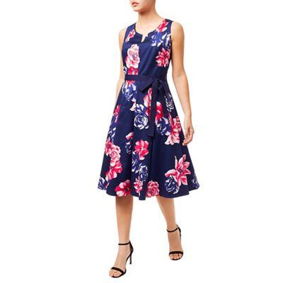 Precis Rosa Print Flared Midi Dress