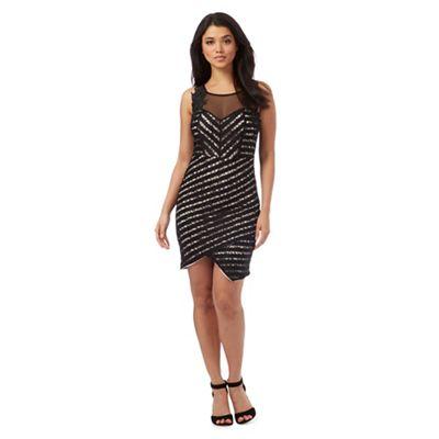 Lipsy Black lace asymmetric hem dress
