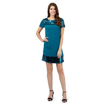 Principles by Ben de Lisi Turquoise sequinned dress