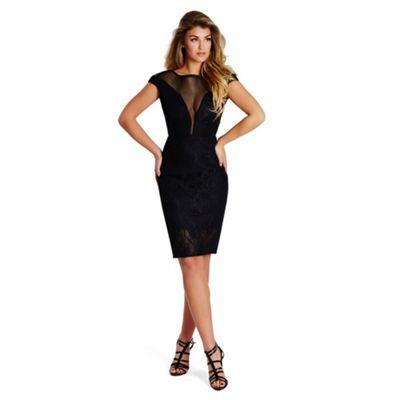 Sistaglam Black 'Lizzy' bonded lace midi dress