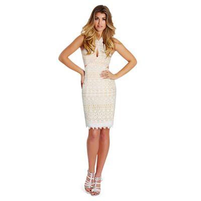 Sistaglam White 'Ferne' halter-neck cutout mini dress