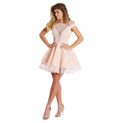 Sistaglam Peach 'Susan' bonded lace prom dress