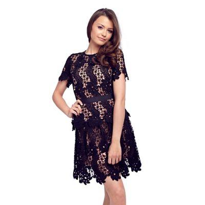 Sistaglam Black 'Eliana' crochet lace prom dress