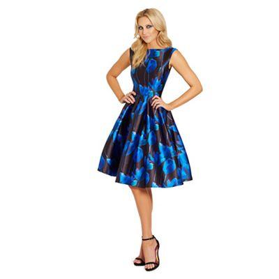 Sistaglam Blue 'Natalya' floral sateen round neck midi prom dress