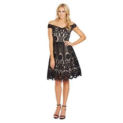 Sistaglam Black 'Emmaline' crochet prom dress