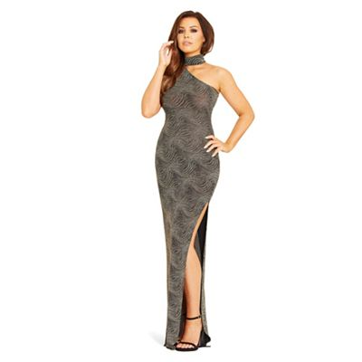 Jessica Wright for Sistaglam Gold 'Mischa' one-shoulder maxi dress
