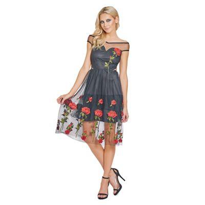 Sistaglam Black 'Elliotte' embroidered bardot prom dress