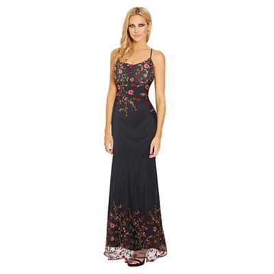 Sistaglam Black 'Maya' embroidered mesh cami strap maxi dress