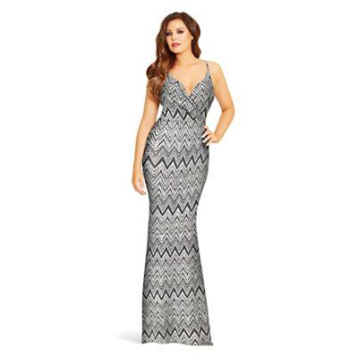 Jessica Wright for Sistaglam Silver 'Stacie' zig zag maxi dress