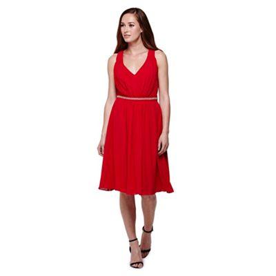 Yumi red Diamante Detail Midi Party Dress
