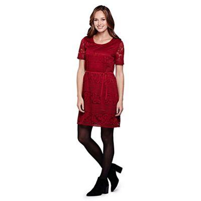 Yumi red Paisley Lace Belt Shift Dress
