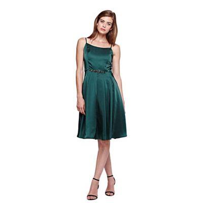 Yumi green Diamante Detail Strappy Prom Dress