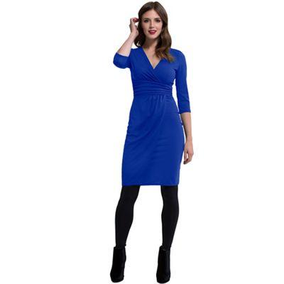 HotSquash Royal blue V Neck Mock Wrap Thermal Dress