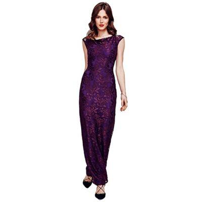 HotSquash Purple Cowl Neck Lace Maxi Dress in ThinHeat Fabric