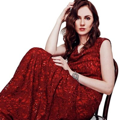 HotSquash Burgundy Cowl Neck Lace Maxi Dress in ThinHeat Fabric
