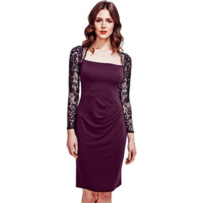 HotSquash Damson Lace Sleeved Jersey Dress in Clever Fabric