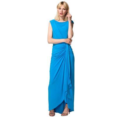 HotSquash Light Blue Grecian Style Maxi Evening Gown