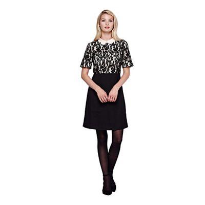 Yumi black Lace Detail Collar Dress