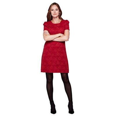 Yumi red Floral Lace Short Sleeved Shift Dress