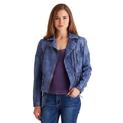 df530b1e4 Joe Browns Blue rock star biker leather jacket