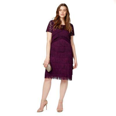 Studio 8 Sizes 12-26 Burgundy kylie fringe dress