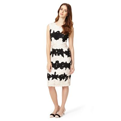 Phase Eight Black and cameo celeste tapework dress
