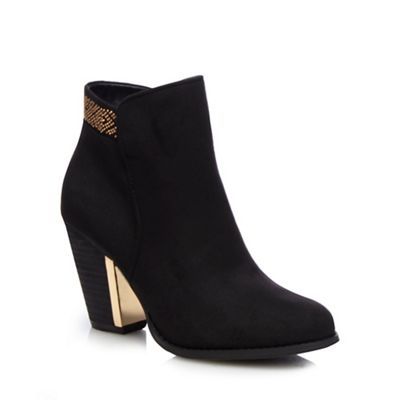 f12d93f2c9a0e5 Call It Spring Black  Jeriradda  gold trim high heeled ankle boots