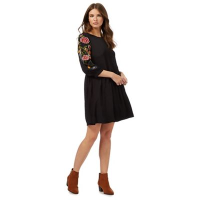 Black embroidery smock dress
