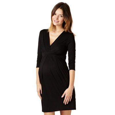 Black jersey tie back maternity dress