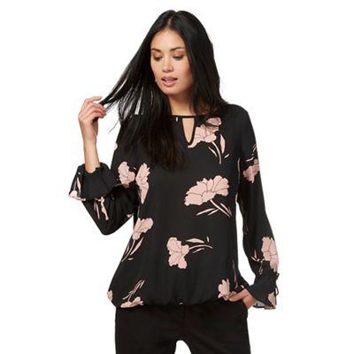 Black floral print flute sleeve blouse