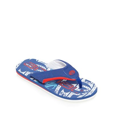 Animal Boys' blue logo print flip flops
