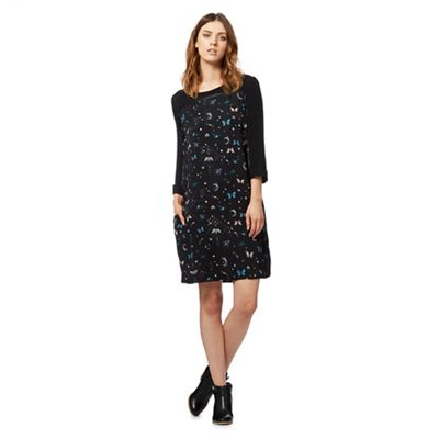 Black butterfly print shift dress