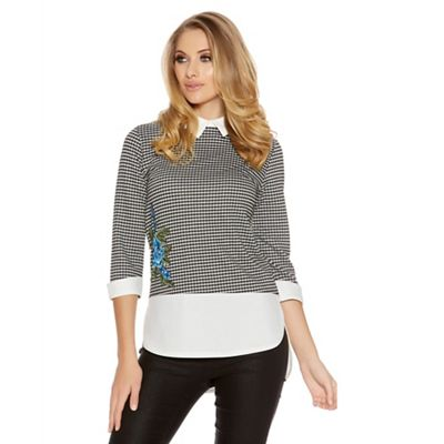 Black and white embroidered collar detail top