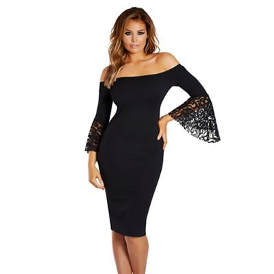Black 'Zazie' bardot frill sleeve dress