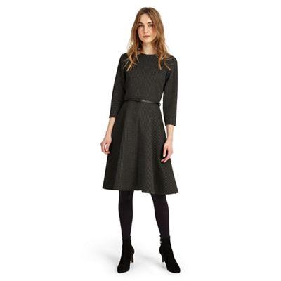 Black and charcoal suzie swing spot dress
