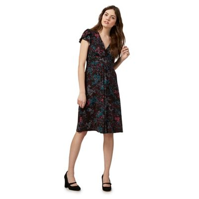 Black floral print jersey tea dress