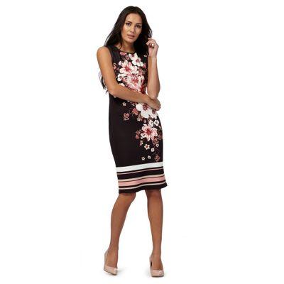 Black oriental print plus size dress