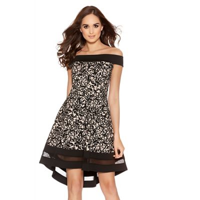 Black And Stone Flock Print Contrast Bardot Skater Dress