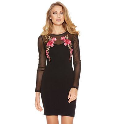 Black and pink mesh long sleeves embroidered dress