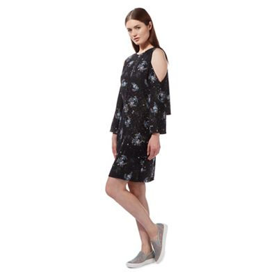 Black cold shoulder floral splash print dress