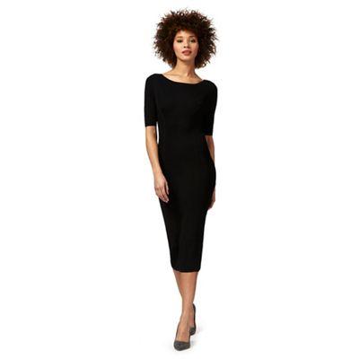 Black knitted rib dress