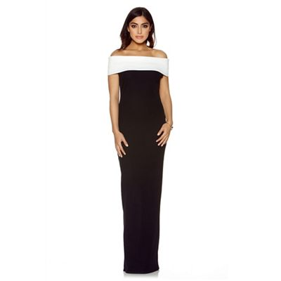 Black and cream bardot maxi dress