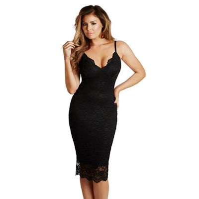 Black 'Harriet' scalloped lace bodycon midi dress