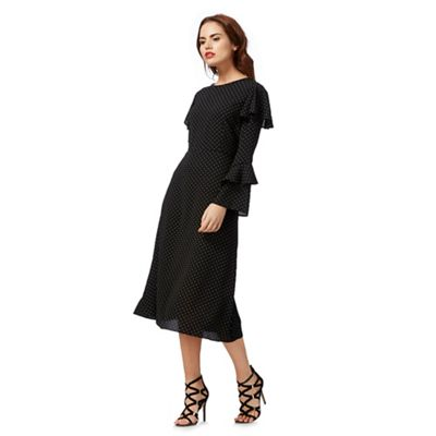 Black dot print midi dress