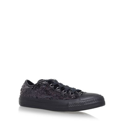 Black 'Holiday Party Low' flat lace up sneakers