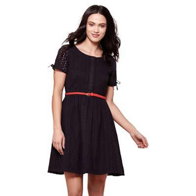 Black broderie anglaise day dress