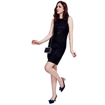 Black Burnout Sleeveless Shift Dress in Clever Fabric