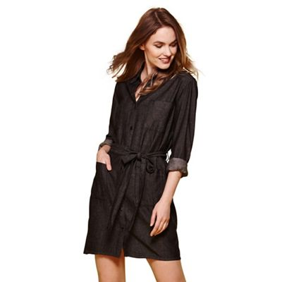 Black denim shirt belt dress